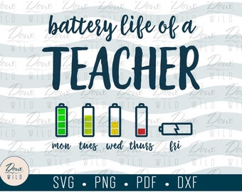 Battery Life of a TEACHER svg para professional school quarantine print sign vinyl design cut files DIGITAL DOWNLOAD Only vector png dxf