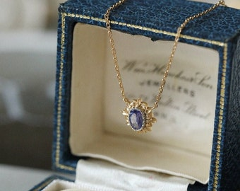 Vintage Tanzanite Necklace, Art Deco Tanzanite Pendant, Natural Blue Tanzanite Necklace, Dainty Oval Tanzanite Pendant, Vintage Jewelry Gift