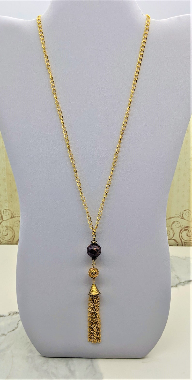 Deep Violet  Midnight Blue Romantic Style Delicate Lamp Work and Chain Tassel Necklace