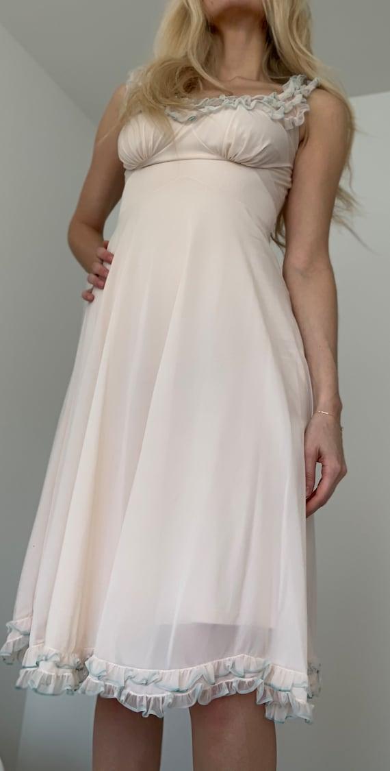 Vintage Ivory/Pink Negligee Slip Dress