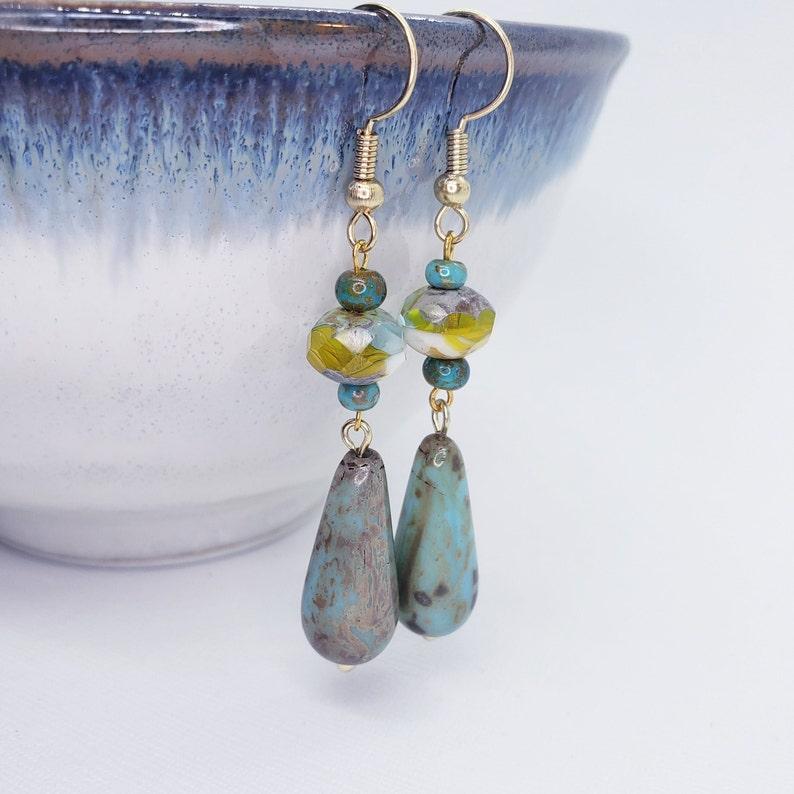 Lush Green Teardrop Glass Earrings