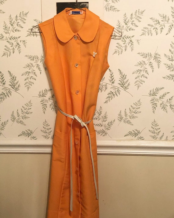 Mid '60s Orange Belted Dress with Peter Pan Collar