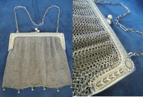 Antique purse bag in SILVER 800 Made in Italy Libe