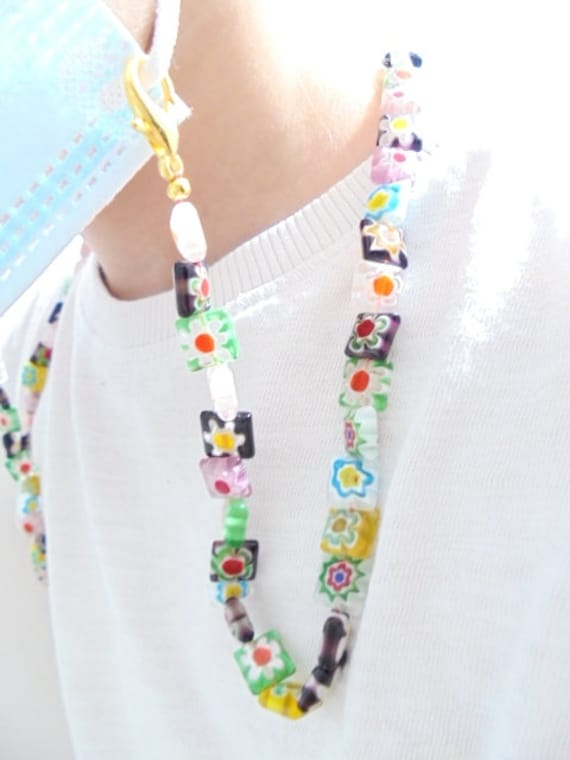 Owl face mask lanyard holder Beaded mask chain holder Halloween mask necklace kids  adult  teacher