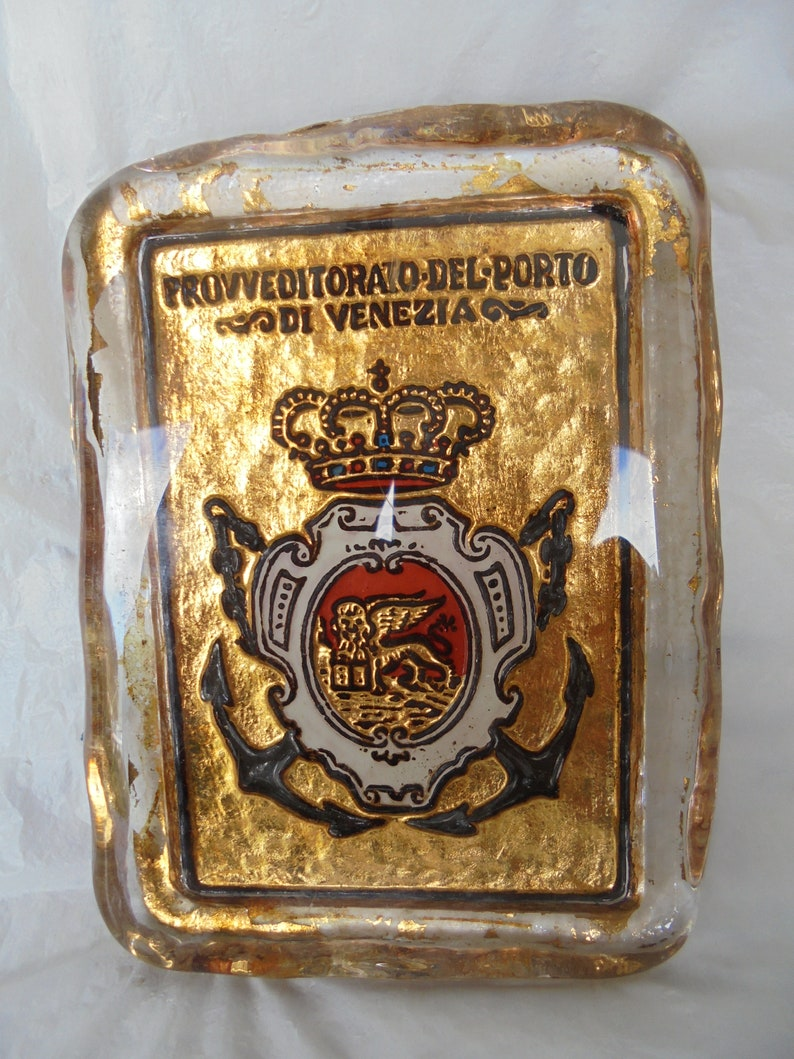 MURANO Venice PAPERWEIGHT in glass and with gold flakes 18K inside for desk Original 1970s Italy