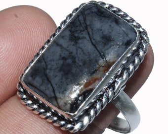 Solid 925 Sterling Silver Modern Jewelry Natural Picture Jasper Ring Size 11.5