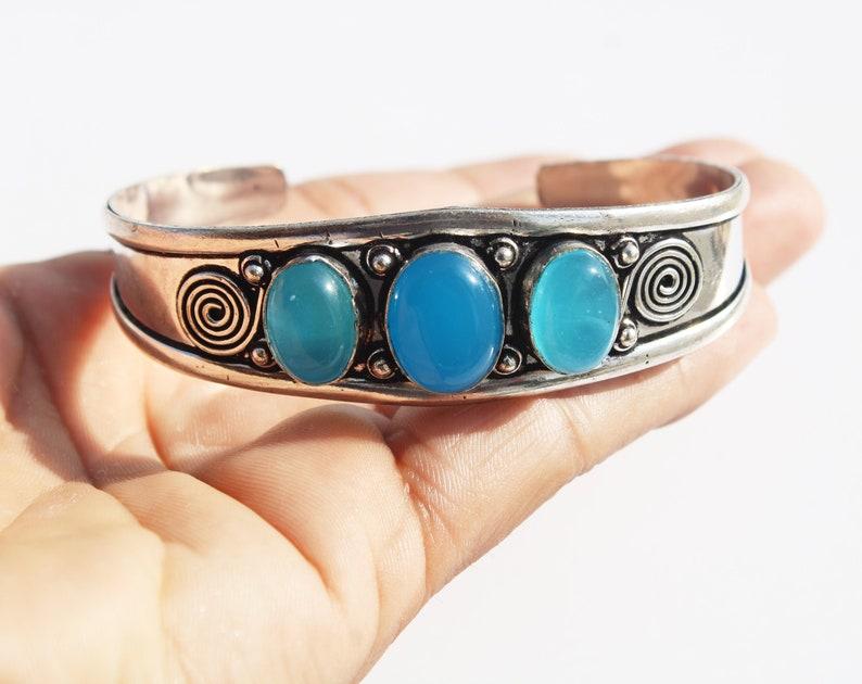 Gemstone Adjustable Ethnic Cuff Bangle Chalcedony Bangle 3 Stone Bangle IJ - 13 925 Sterling Silver Plated Bangle