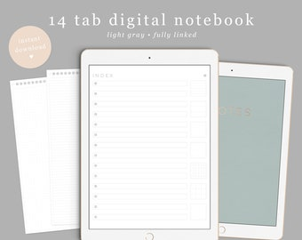 Digital Notebook, Goodnotes notebook, DigiBujo, notability notebook, notability template, goodnotes template, Digital Bullet Journal, iPad