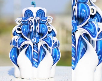 Handmade Turquoise Carved Candles Swan-Christmas Gift Candles-Oscar Candles