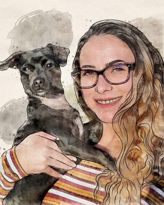 Watercolor Painting effect Pet Portrait,Dog Drawing Custom Pet Loss Gift For Mom Custom Pet Portrait Painting Dog Lover Gift For Boss