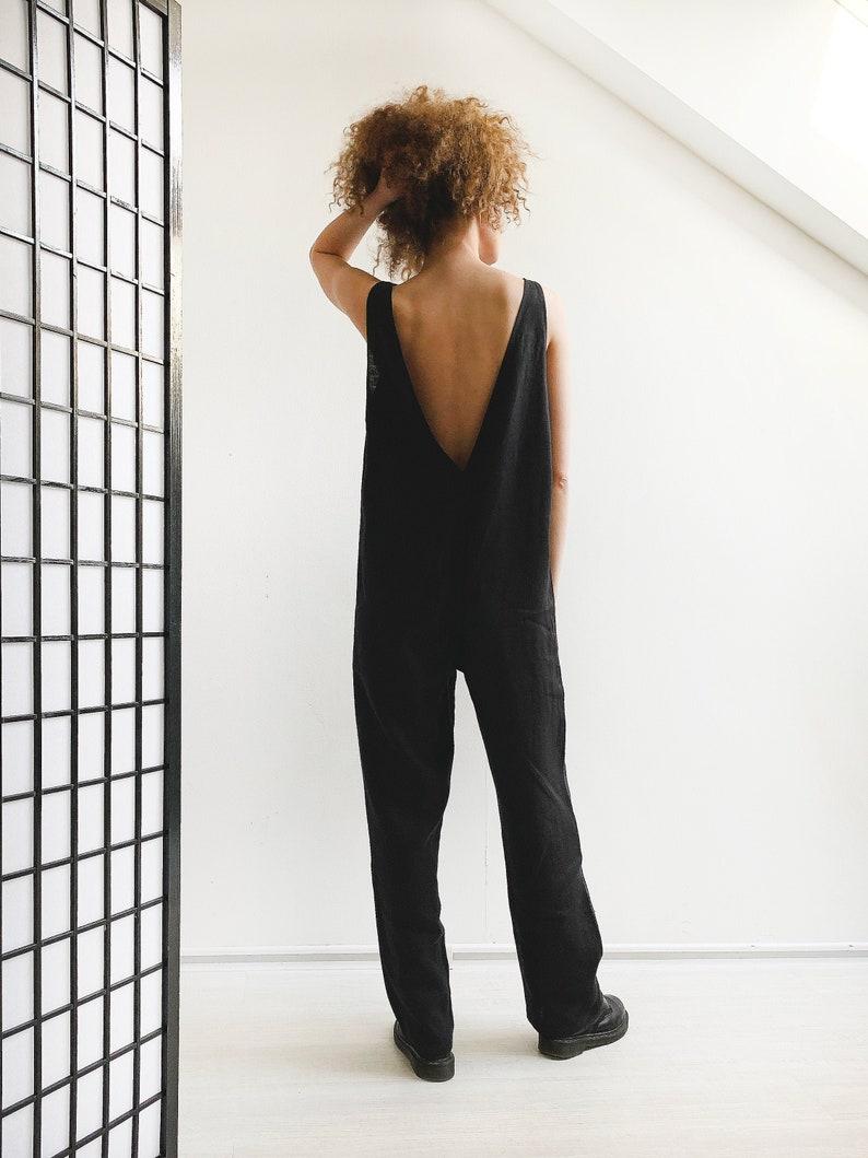 Linen romper women Black Jumpsuit LINEN JUMPSUIT WOMEN Full Length Summer Jumpsuit Linen overall women Plus size jumpsuit