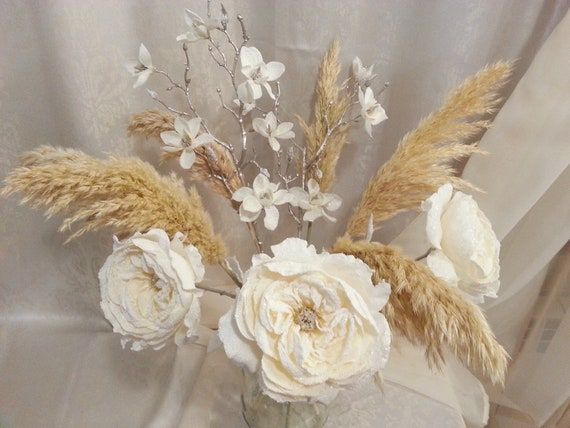 Dried Ivory Pampas Bouquet Dried Flowers Dried Flowers Etsy