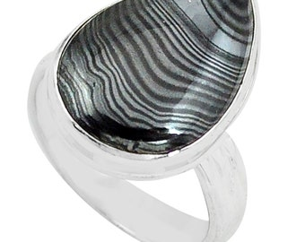 Natural Crown of Silver Psilomelane Unique Jewelry Solid 925 Sterling Silver Ring Size 8