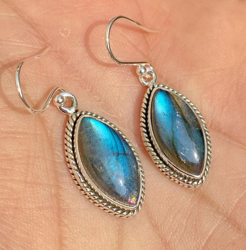 9 carats designer labradorite marquise shape silver earrings Handmade By JaipurShopCo
