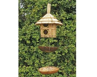 FairTrade Hand Made Wooden Bamboo Bird House Buddha Windchime Wind Chime Hanging