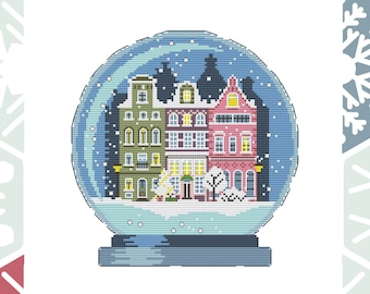 Winter cross stitch pattern Snowball Christmas cross stitch Scandinavian houses Christmas city Danish houses Instant download PDF