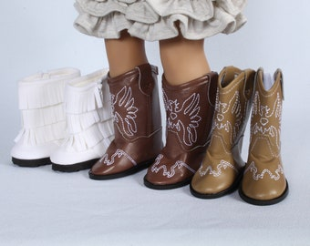 "Tan Fringe Western Boots Made To Fit 18/"" American Girl Dolls"