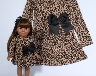 Matching Girl and Doll Leopard Cheetah Print Long Sleeve Skater Dress fits American Girl Doll and other 18 inch dolls