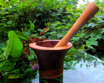 """Wild Olive Wood Mortar & Pestle - Hand Carved, Height 3.5"""" x Bowl Diameter 5.25"""" ~ Eco-friendly Product"""