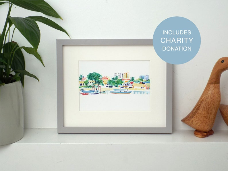River view CHARITY print A5 Giclée wall art print includes image 0