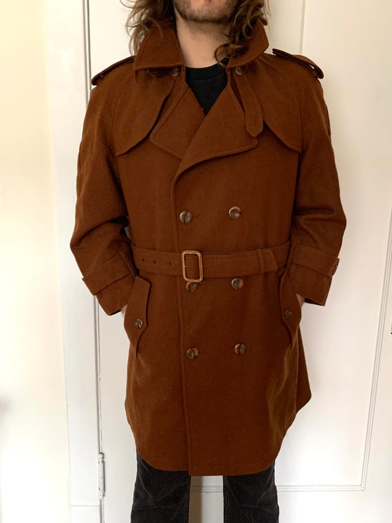 Vintage Cortefiel Belted Wool Trench Coat