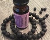 Handmade Lava Stone Aromatherapy Diffuser Bracelet in Black,6mm 8mm