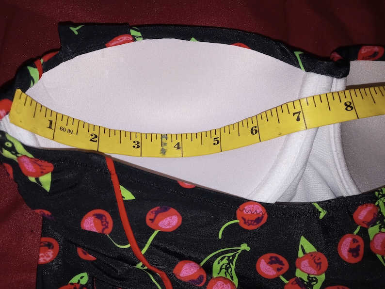 Pinup cherry bathing suit swimwear vintage inspired high top Waist 26 beach wear Bust 32 female dots rockabilly  Size XS ba\u00f1ador
