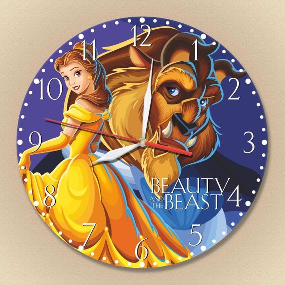 Beauty And The Beast Clock Wooden Clock Beauty And The Beast Etsy