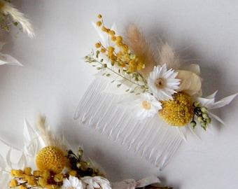 Series HELLO SUNSHINE, Hair Comb Dried Flowers, Dried flowers