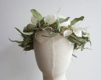 Series BOHO LUNA, Hair Wreath, Lapel Jewelry & Hair Comb / Dry Flowers