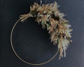 Series BOHO- STYLE, Dried flower hoop, 35 cm diameter