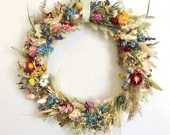 Series ALL COLOURS, door/wall wreath made of dried flowers/ Dried flowers