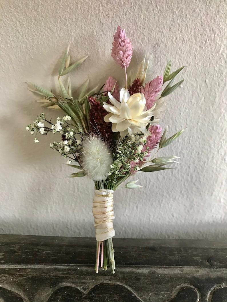 Brautstrauß Set mit Anstecker & Haarkamm aus Trockenblumen