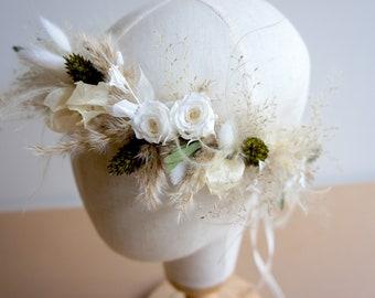 Series BOHO GREEN MIND, hair wreath dried flowers, stabilized flowers, Flower crown with Dried flowers
