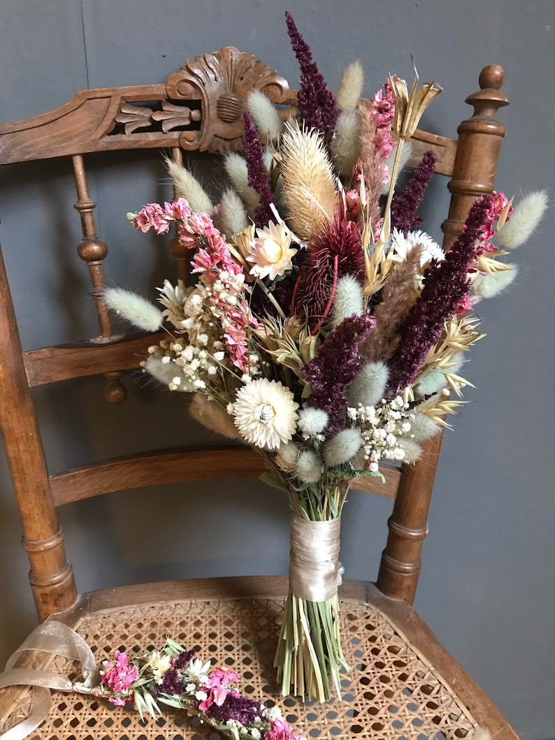 Brautstrauß Set mit Anstecker & Blumenkranz aus Trockenblumen