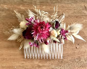Series BOHO ROSE, floral hair comb, dried flowers/ Dried flowers