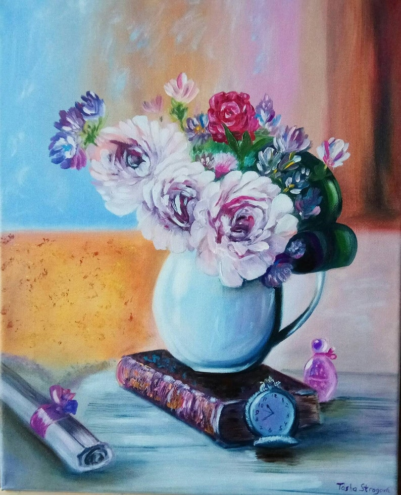 Floral Artwork Oil Painting  Wall Dekor Original Art Flowers Artwork Antique Clock Essence Of Life 20 by 16  Painting on Canvas Still Life