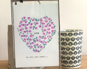 Love is all you need hand painted and vintage typed framed artwork