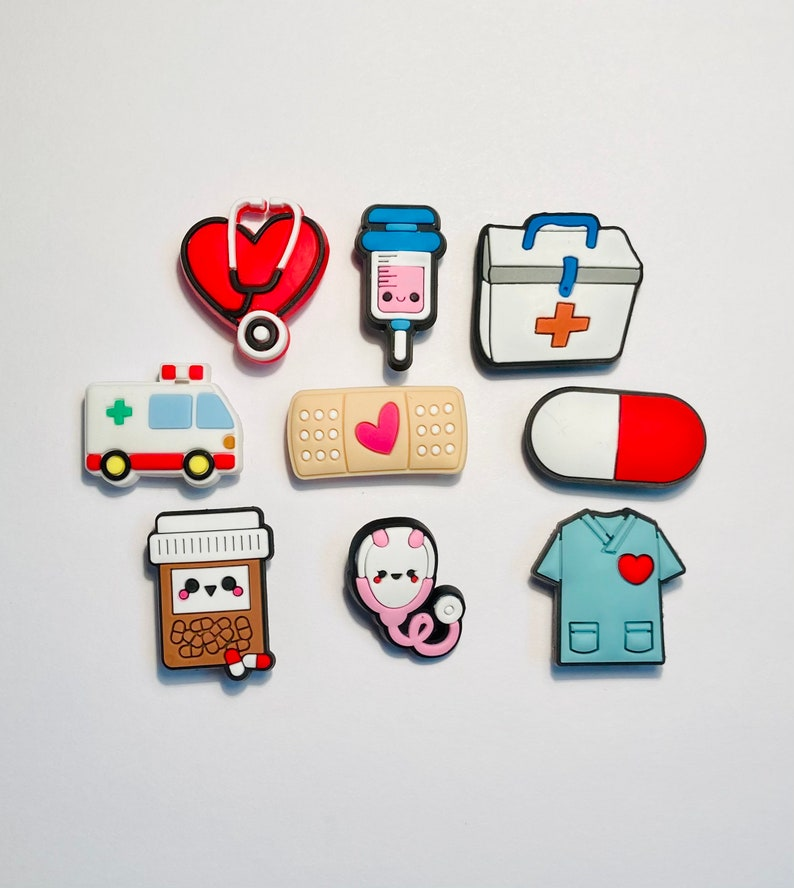 Shoe Charms 9 Piece Medical Nursing Doctor Set