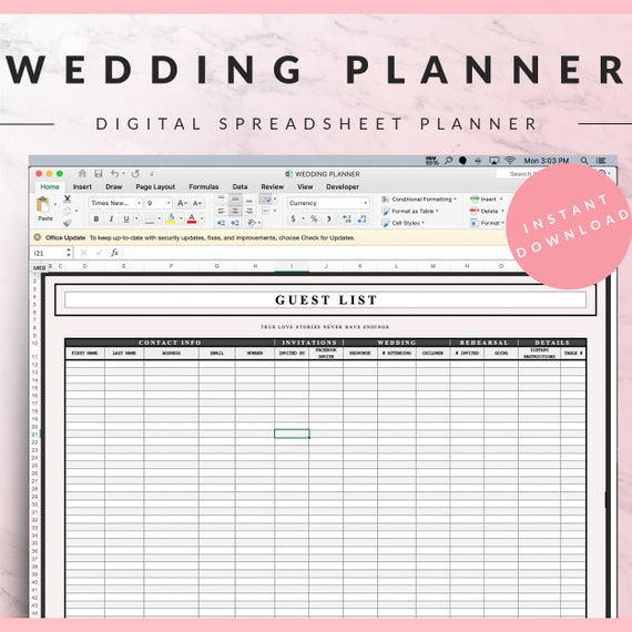 Wedding Planner Bundle Pink Excel Spreadsheet And Google Etsy