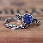 Created sapphire wedding ring set, sterling silver filigree engagement ring, vintage style bridal set, saphire engagement ring, water dream