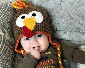 Crocheted Turkey Baby Hat/Turkey Hat/Fall Hat/Turkey Photo Prop/Thanksgiving Hat
