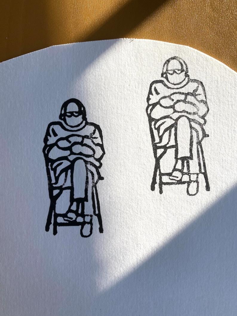 Custom Handmade Stamp Bernie Sanders Mittens Inauguration 2021 Meme Stamp Paper Stationary Valentine/'s Day Gift Linoart