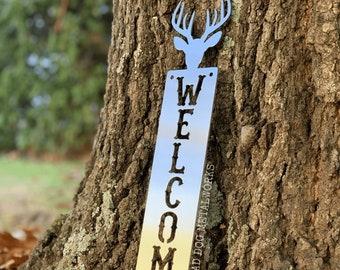 Deer Welcome Plaque - Bad Dog Metalworks Home Décor - Country Cabin Décor - Deer Décor - Big Buck Welcome Sign - Deer Hunting Welcome Sign