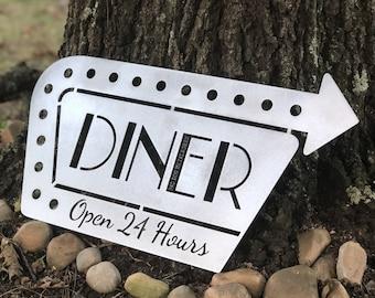 Diner Open 24 Hours Retro Metal Kitchen Sign - Bad Dog Metalworks Home Decor - Kitchen Decor - Diner Sign - Diner Decor - Retro Signs