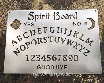 Spirit Board Metal Ouija Board Halloween Decor - Bad Dog Metalworks Home Decor - Paranormal Witch Vibes - Gothic Séance Afterlife Horror Art