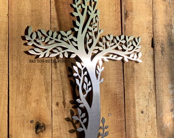 Olive Branch Tree Cross Metal Art - Bad Dog Metalworks Home Décor - Religious Gifts & Décor Religion Christianity God Christ Catholic Faith