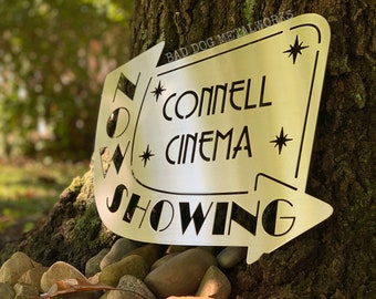 Retro Now Showing Personalized Cinema Sign - Metal Home Theater Décor - Bad Dog Metalworks Home Décor - Personalized Theater Sign Cinema Art