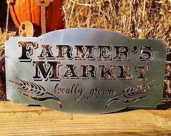 Farmer's Market - Farmhouse Decor - Vintage Style Metal Kitchen Sign