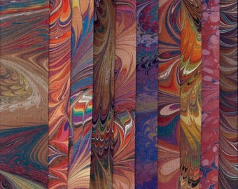 """Cotton Fabric Earthtones Variety Pack, Hand Painted, Dyed and Hand Marbled, 10 Pieces - 9"""" x 10"""", High Quality Fabric & Artist"""